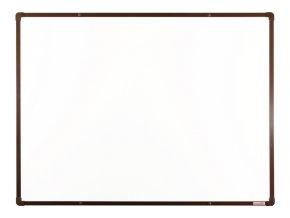 Bílá magnetická popisovací tabule s keramickým povrchem boardOK, 120x90 cm, hnědý rám