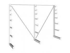 Konzolový regál stromečkový, jednostranný, 150 kg, 2000 x 2700 x 590 mm