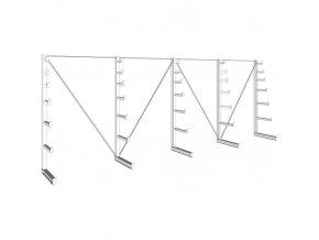 Konzolový regál stromečkový, jednostranný, 150 kg, 2000 x 5400 x 590 mm