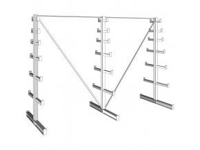 Konzolový regál stromečkový, oboustranný, 150 kg, 2000 x 2700 x 590 mm