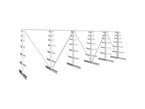 Konzolový regál stromečkový, oboustranný, 150 kg, 2000 x 6750 x 590 mm
