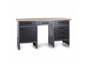 Pracovní stůl do dílny HOBBY III, 840 x 1600 x 600 mm, 6 zásuvek, 1 skříňka