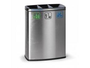 Koš na tříděný odpad, 3x26 l, nerezový