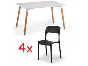 Jídelní stůl 120x80 + 4x plastová židle REFRESCO černá