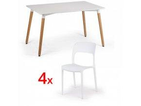 Jídelní stůl 120x80 + 4x plastová židle REFRESCO bílá