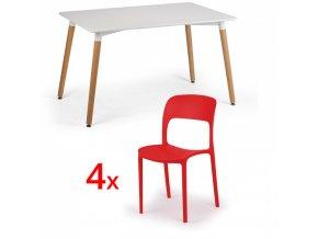 Jídelní stůl 120x80 + 4x plastová židle REFRESCO červená