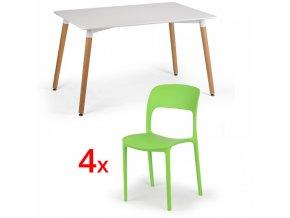 Jídelní stůl 120x80 + 4x plastová židle REFRESCO zelená