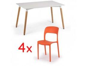 Jídelní stůl 120x80 + 4x plastová židle REFRESCO oranžová