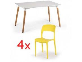 Jídelní stůl 120x80 + 4x plastová židle REFRESCO žlutá