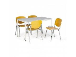 Sestava jídelní stůl 1200x800 mm, šedý + 4 dřevěné židle ISO