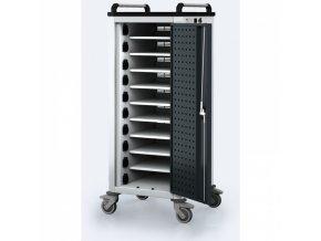 Vozík pro nabíjení notebooků/tabletů, 10 přihrádek, šedá/antracit