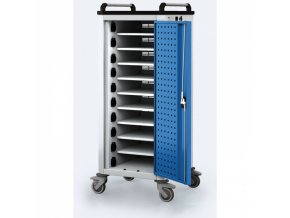 Vozík pro nabíjení notebooků/tabletů, 10 přihrádek, šedá/modrá