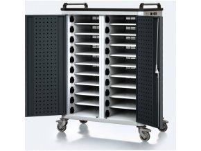 Vozík pro nabíjení notebooků/tabletů, 20 přihrádek, šedá/antracit