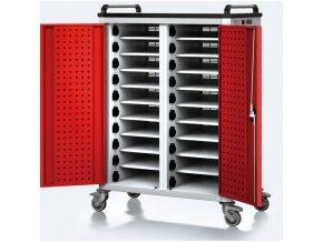 Vozík pro nabíjení notebooků/tabletů, 20 přihrádek, šedá/červená