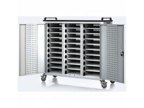 Vozík pro nabíjení notebooků/tabletů, 30 přihrádek, šedá/šedá