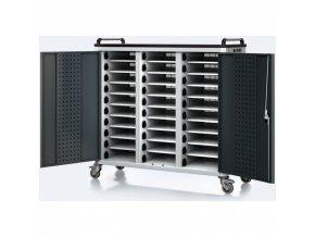 Vozík pro nabíjení notebooků/tabletů, 30 přihrádek, šedá/antracit