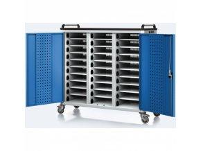 Vozík pro nabíjení notebooků/tabletů, 30 přihrádek, šedá/modrá