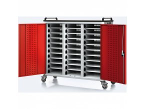 Vozík pro nabíjení notebooků/tabletů, 30 přihrádek, šedá/červená