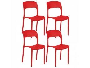 Designová plastová jídelní židle REFRESCO,4 ks, červená