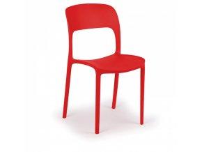 Designová plastová jídelní židle REFRESCO, červená