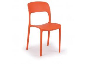Designová plastová jídelní židle REFRESCO, 4 ks, oranžová
