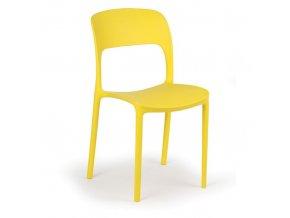 Designová plastová jídelní židle REFRESCO, 4 ks, žlutá