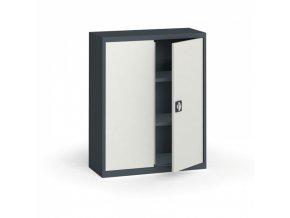 Plechová policová skříň, 1150 x 950 x 400 mm, 2 police, antracit/šedá