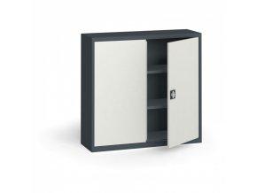 Plechová policová skříň, 1150 x 1200 x 400 mm, 2 police, antracit/šedá