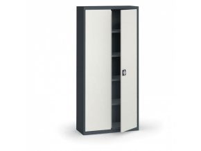 Plechová policová skříň, 1950 x 950 x 400 mm, 4 police, antracit/šedá
