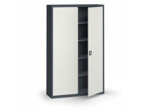 Plechová policová skříň, 1950 x 1200 x 400 mm, 4 police, antracit/šedá