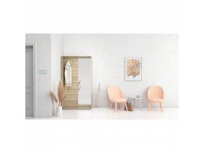 Šatní stěna s botníkem a zrcadlem, 2 háčky, bílá/dub přírodní