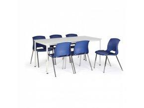 Stůl jídelní, šedý 1800x800 + 6 židlí Cleo, modrá