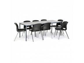 Stůl jídelní, šedý 2000x800 + 8 židlí Cleo, černá