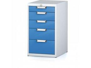 Kontejner s pěti zásuvkami, šedá/modrá