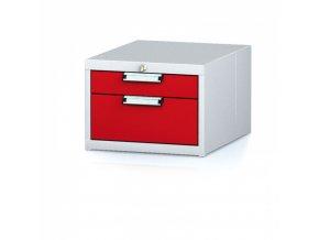 Kontejner závěsný se dvěma zásuvkami, šedá/červená