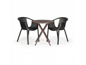 Plastový stůl COFFEE TIME, kávová + 2x židle LOUNGE, černá