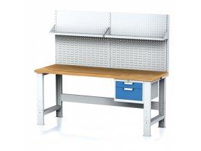 Dílenský stůl MECHANIC s nástavbou a policí, 2000x700x700-1055 mm, nastavitelné podnoží, 1x 2 zásuvkový kontejner, šedý/modrý