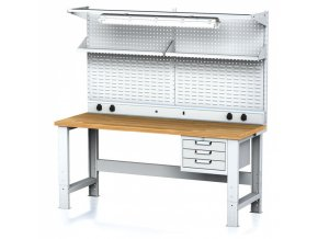 Dílenský stůl MECHANIC s nástavbou a policí, el. zásuvkami, osvětlením 2000x700x700-1055 mm, 1x 3 zásuvkový kontejner, šedý/šedý