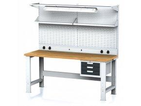 Dílenský stůl MECHANIC s nástavbou a policí, el. zásuvkami, osvětlením 2000x700x700-1055 mm, 1x 3 zásuvkový kontejner, šedý/antracit