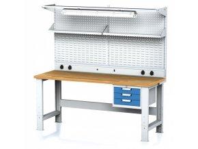Dílenský stůl MECHANIC s nástavbou a policí, el. zásuvkami, osvětlením 2000x700x700-1055 mm, 1x 3 zásuvkový kontejner, šedý/modrý
