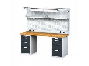 Dílenský stůl MECHANIC s nástavbou a policí, el. zásuvkami, osvětlením 2000x700x755 mm, 2x 4 zásuvkový kontejner, šedý/antracit
