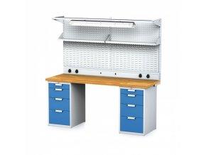 Dílenský stůl MECHANIC s nástavbou a policí, el. zásuvkami, osvětlením 2000x700x755 mm, 2x 4 zásuvkový kontejner, šedý/modrý