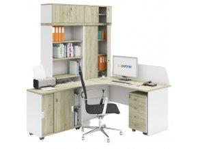 Sestava kancelářského nábytku MIRELLI A+, typ C, bílá/dub sonoma