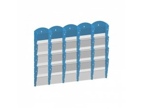 Nástěnný plastový zásobník na prospekty - 5 x 4 A5, šedý