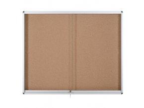 Vitrína s posuvnými dveřmi, korková, 967 x 706 mm