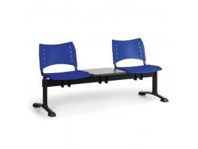 Plastová lavice do čekáren VISIO, 2-sedák, se stolkem, modrá, černé nohy
