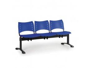 Plastová lavice do čekáren VISIO, 3-sedák, modrá, černé nohy