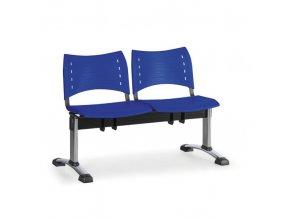 Plastová lavice do čekáren VISIO, 2-sedák, modrá, chromované nohy