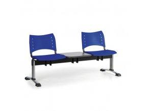 Plastová lavice do čekáren VISIO, 2-sedák, se stolkem, modrá, chromované nohy