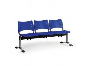 Plastová lavice do čekáren VISIO, 3-sedák, modrá, chromované nohy